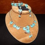 Sterling Silver Turquoise Necklace & Earring Set - Native American Zuni Signed Jewelry for Sale