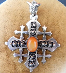 Antique Sterling Silver Carnelian Jerusalem Cross Necklace Pendant