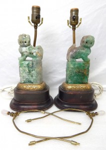 Antique Chinese Jade Fluorite Table Lamps