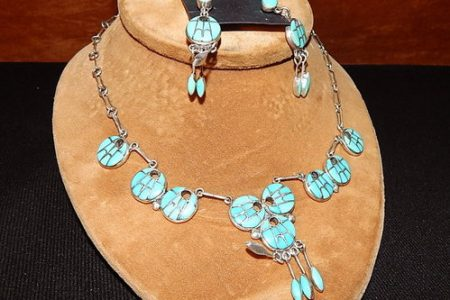 Sterling Silver Turquoise Necklace Earring Ring Set Native American Zuni Signed